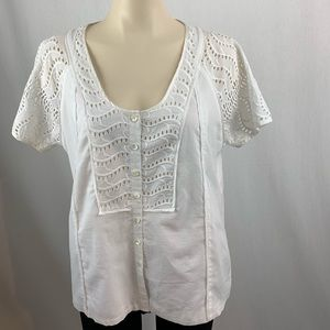 J.Crew White Short Sleeve Button-Up Blouse 10